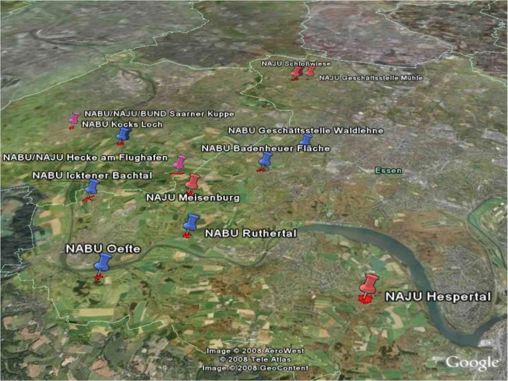 Karte der Trittsteinbiotope, die von NABU und NAJU in Essen und Mülheim gepflegt werden (Stand 2008). Karte © Goolgemaps