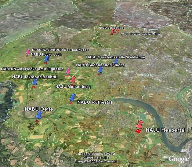 NABU und NAJU Pflegeflächen in Essen und Mülheim. Karte © Goolgemaps