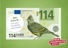 114 €-Schein mit Vogel, Grafik © NABU