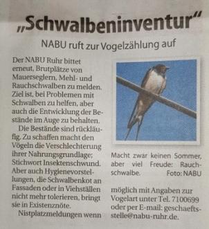 Aufruf in der Presse, Foto R. Soest, NABU